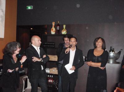 La nouvelle équipe commerciale du Groupe Pourcel, Marie-Ange Chiari, José Grossman au micro, Hélène Bin....