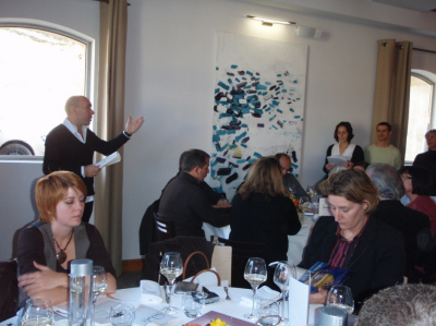 Jacques Pourcel s'adressant à la Presse réunie au Domaine de Verchant