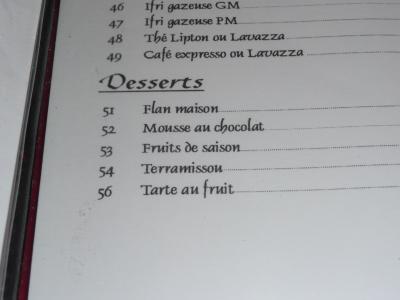 la carte des dessert..... drôle non ?