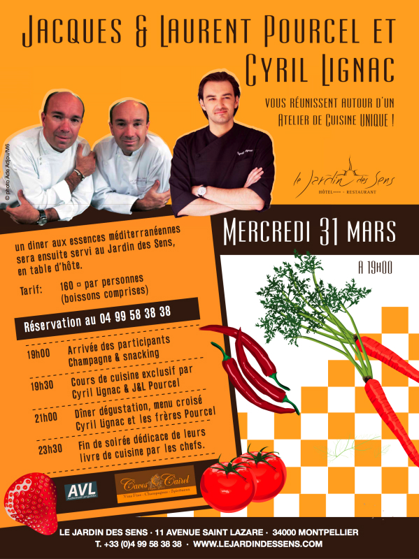 un cours de cuisine 6 mains avec cyril lignac et les fr res pourcel montpellier chefs. Black Bedroom Furniture Sets. Home Design Ideas