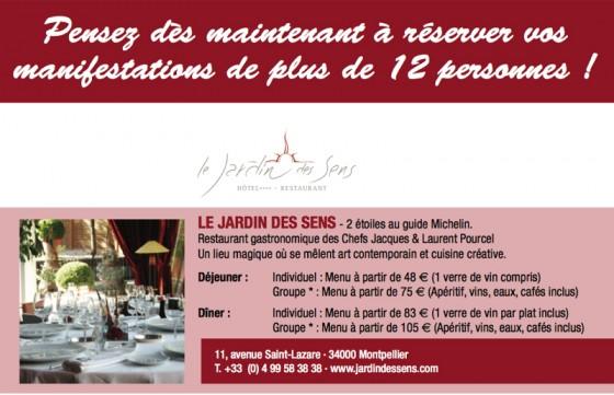 Vinisud 2012 pensez r server vos tables chefs - Restaurant le jardin des sens montpellier ...