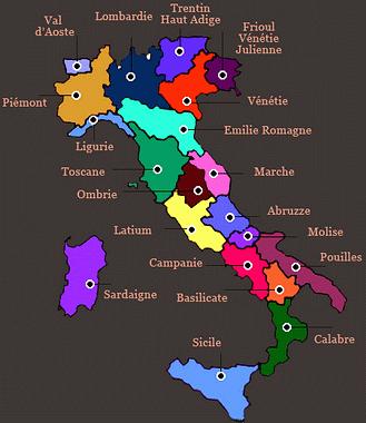Italie carte vin