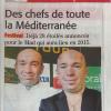 La presse en parle : le festival de cuisine M.A.D. ( Méditerranée À Déguster ) se met en place